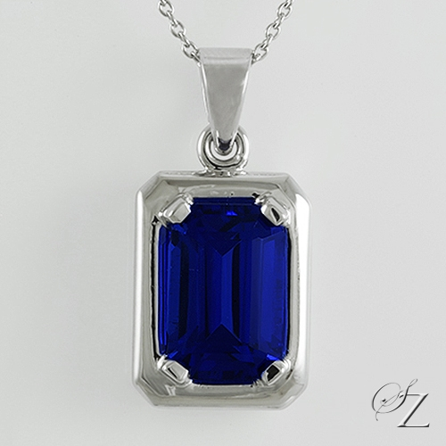 emerald-cut-tanzanite-pendant-lstp023